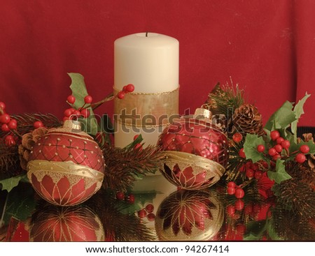 """Merry Christmas"" -- Various objects make for an interesting Christmas display. - stock photo"