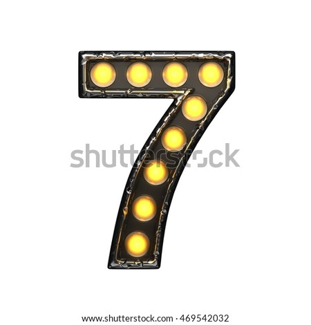 7 metal letter with lights. 3D illustration