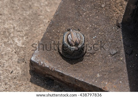 Metal nut rusted bolt  ,Through the use of corrosive industrial construction - stock photo