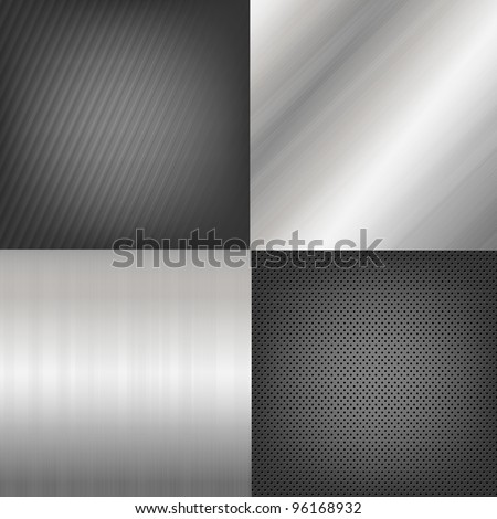 4 Metal Texture Backgrounds - stock photo