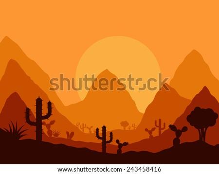 Western Landscape Silhouette Landscape With Silhouette