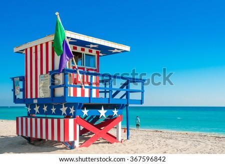 Miami Beach, Florida - Lifeguard Tower in South Beach, - stock photo