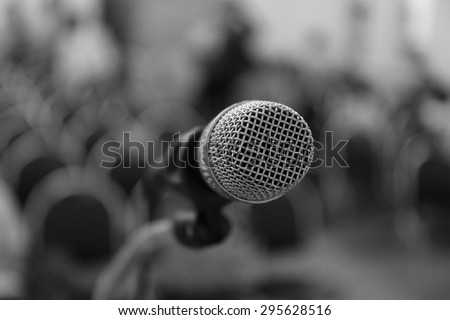 microphone on stage, microphone in conference hall - stock photo