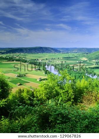 midi pyrenees lot valley near cahors - stock photo