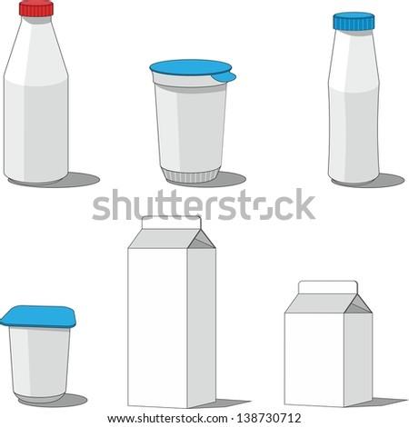 Milk packaging  set 001 - stock photo
