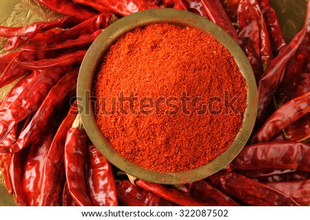 milled red chili pepper, red chilies powder - stock photo