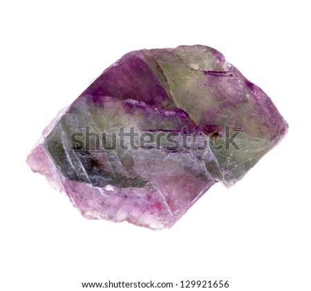 mineral fluorite  isolated on a white background - stock photo
