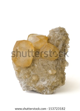 MINERAL SERIES: Calcite from Spain, isolated on white. 9cm high.