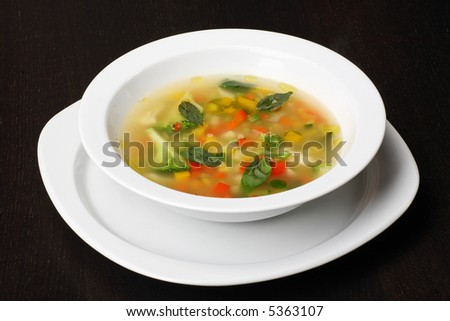 Minestrone vegetable soup - stock photo