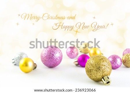 Mini Christmas balls with bokeh background