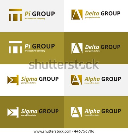 minimalistic negative space greek letters logo collection - stock photo