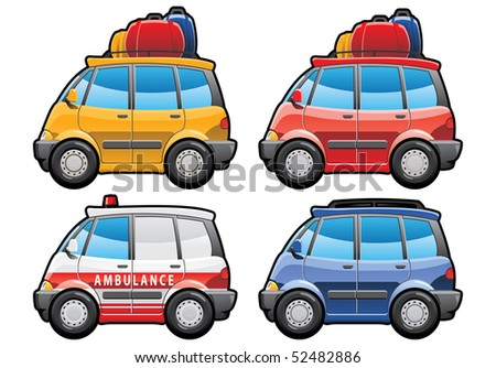 minivan, ambulance car - stock photo