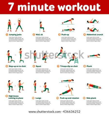 7 minute workout. Fitness, Aerobic  and workout exercise in gym. Set of gym icons in flat style isolated on white background. People in gym. Gym equipment, dumbbell, weights, treadmill, ball. - stock photo