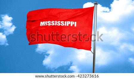 mississippi, 3D rendering, a red waving flag - stock photo