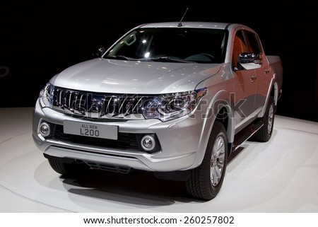 2015 Mitsubishi L200 presented the 85th International Geneva Motor Show on March 3, 2015 in Palexpo, Geneva, Switzerland
