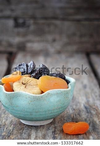 mix of organic  dried fruit - stock photo