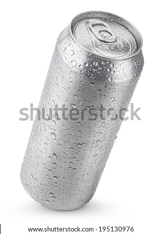 500 ml aluminum beer can with water drops isolated on white - stock photo