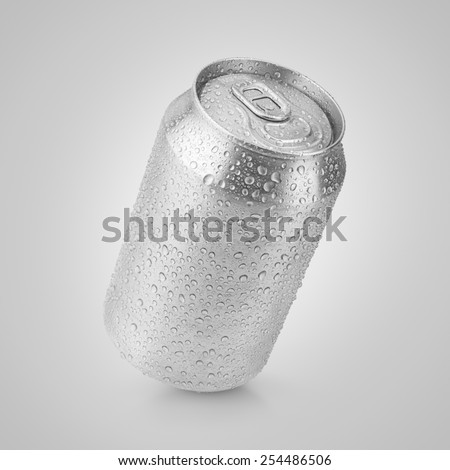 330 ml aluminum soda can with water drops on gray with clipping path - stock photo