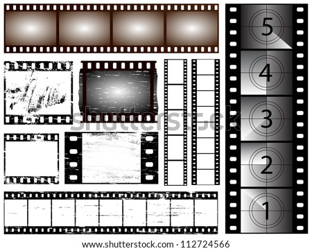 35mm and 135 still camera and cinema film strips - stock photo