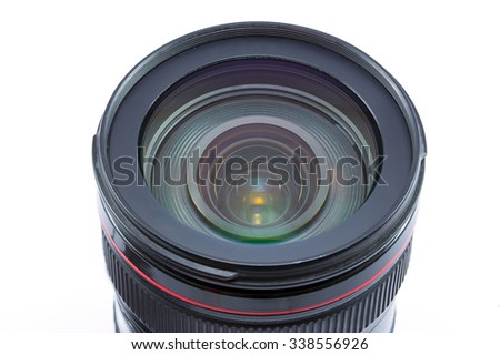 24-105 mm auto-focus control camera lens isolated on white background