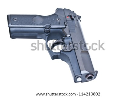 9 mm Black handgun isolated on a white background, with clipping path. - stock photo