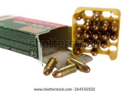 7.65 mm bullet for a gun isolated on white background. - stock photo