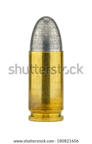 9mm bullet isolated on white background - stock photo