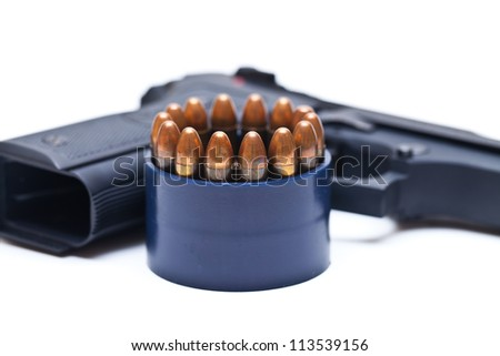 9-mm bullets on white background - stock photo