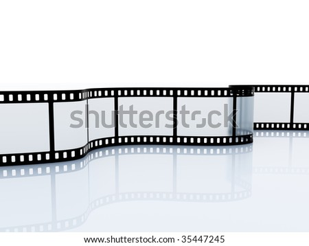 35mm empty film srip isolated on white
