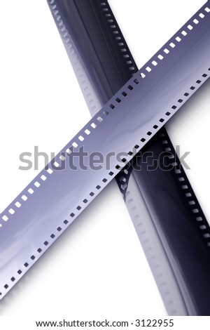 35mm film isolated on white (focused at top)