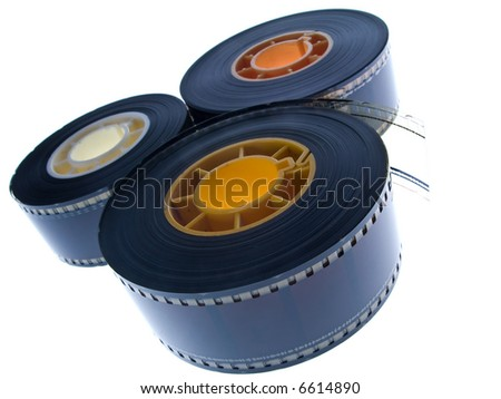 35 mm film reels isolated in white background - stock photo