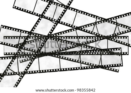 35mm film strip, isolated on white - stock photo