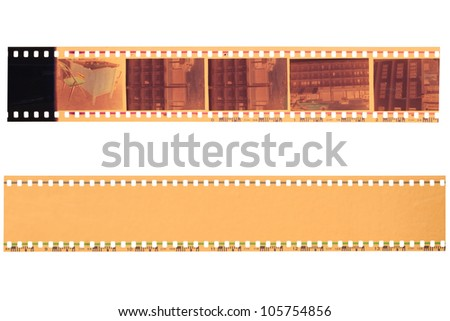 35 mm film strip isolated on white background - stock photo