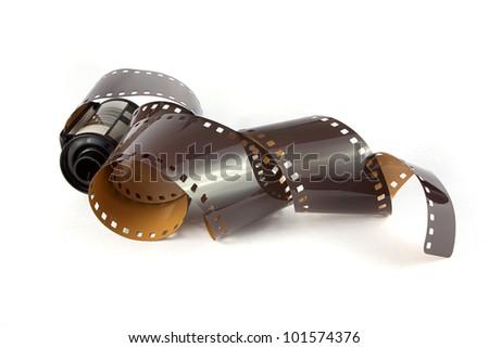 35mm film strip over white - stock photo