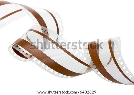 35 mm film with audio magnetic track isolated in white background - stock photo