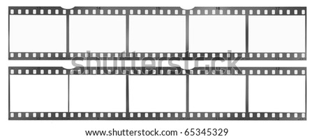 35 mm filmstrip, picture frames, isolated on white background - stock photo