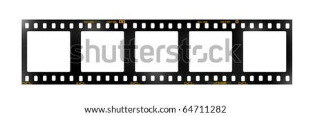 35 mm filmstrip, 5 square blank picture frames,