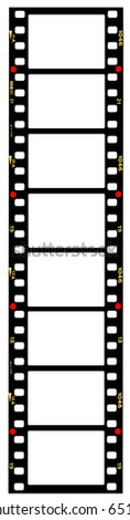 35mm format movie filmstrip, picture frames,standard film picture frames,with free copy space,isolated on white background - stock photo