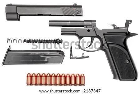 9 mm gun in details - stock photo
