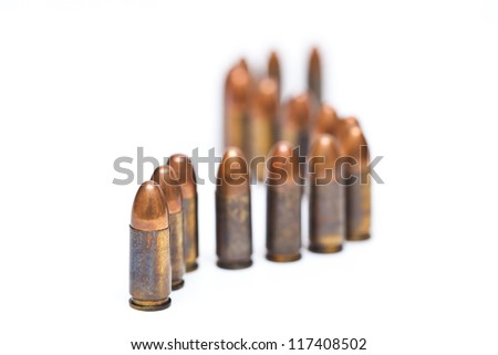 9-mm handgun automatic on white background - stock photo