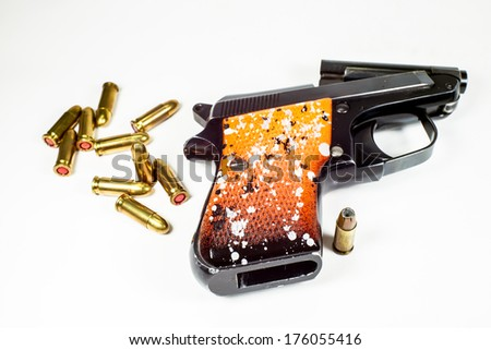 6.35 mm handgun in a isolated on white  - stock photo