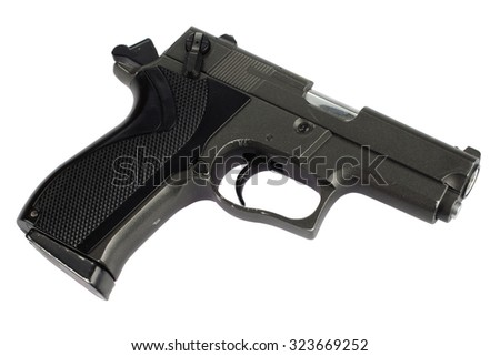 9mm handgun isolated on white