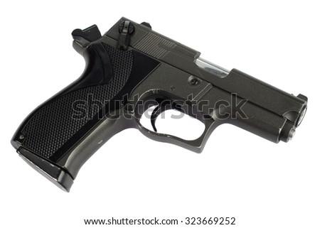 9mm handgun isolated on white - stock photo
