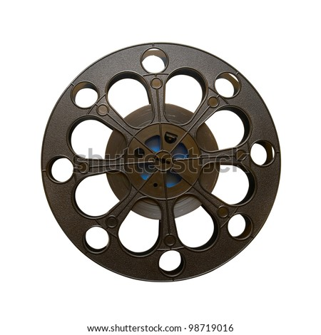 16 mm motion picture film reel isolated on white - stock photo