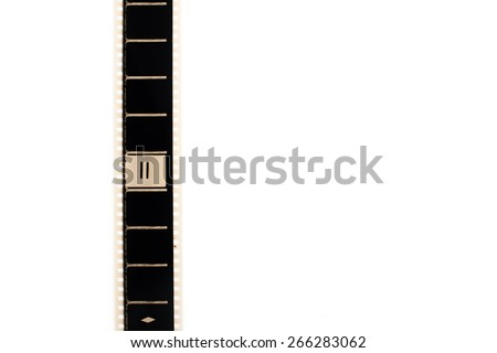 35mm movie film with number two frame countdown, vertical and copyspace isolated on white background - stock photo