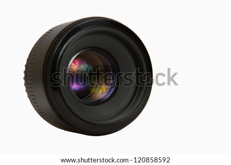 50 mm photographic lens against white background - stock photo