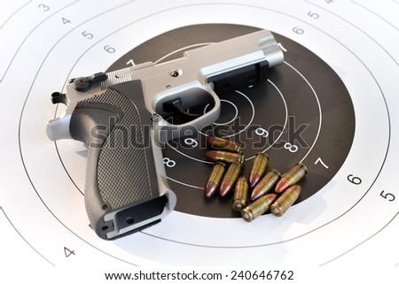 9 mm. pistol - stock photo
