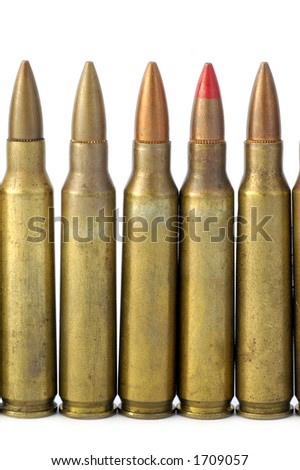 5.56 mm rifle shells - look in profile for more - stock photo