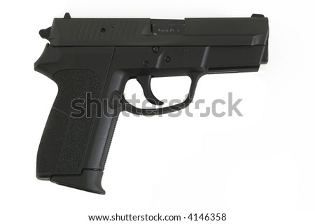 9mm semi automatic handgun isolated on white - stock photo