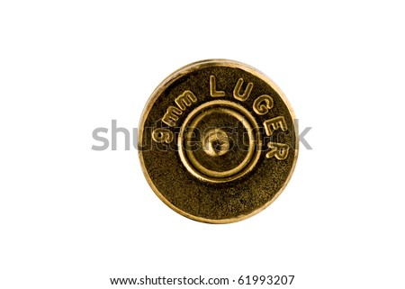 9mm Shell casing bottom against gradient - stock photo